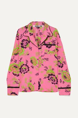 McQ Floral-print Crepe De Chine Shirt