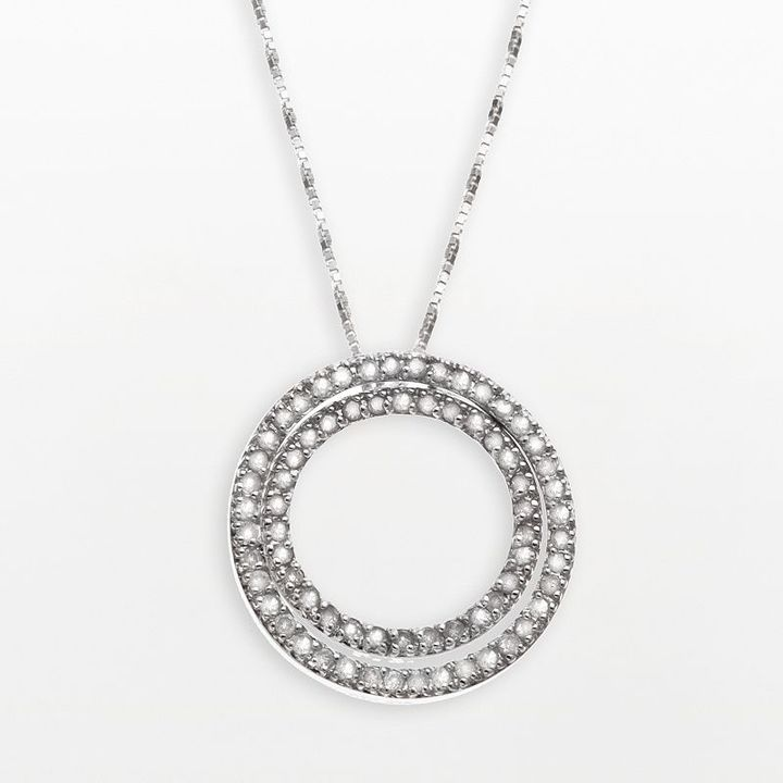 Silver 1-ct. diamond interchangeable double-circle pendant
