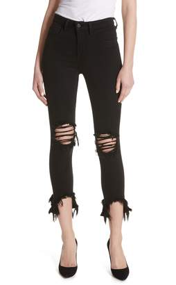 L'Agence Highline High Waist Fray Hem Skinny Jeans