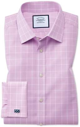 Charles Tyrwhitt Classic Fit Non-Iron Prince Of Wales Pink Cotton Dress Shirt French Cuff Size 15.5/33