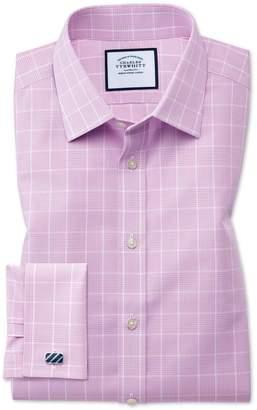 Charles Tyrwhitt Classic Fit Non-Iron Prince Of Wales Pink Cotton Dress Shirt Single Cuff Size 18/35