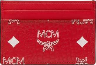 MCM Card Case In White Logo Visetos