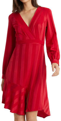 Lipsy Red Self Stripe Fit And Flare Dress