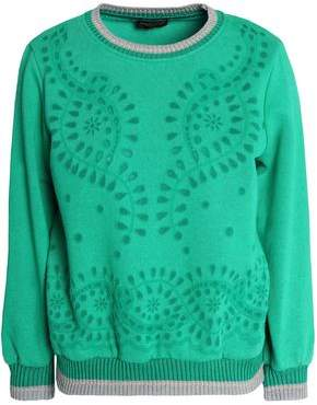 Roberto Cavalli Laser-Cut Mélange Cotton-Blend Jersey Sweatshirt
