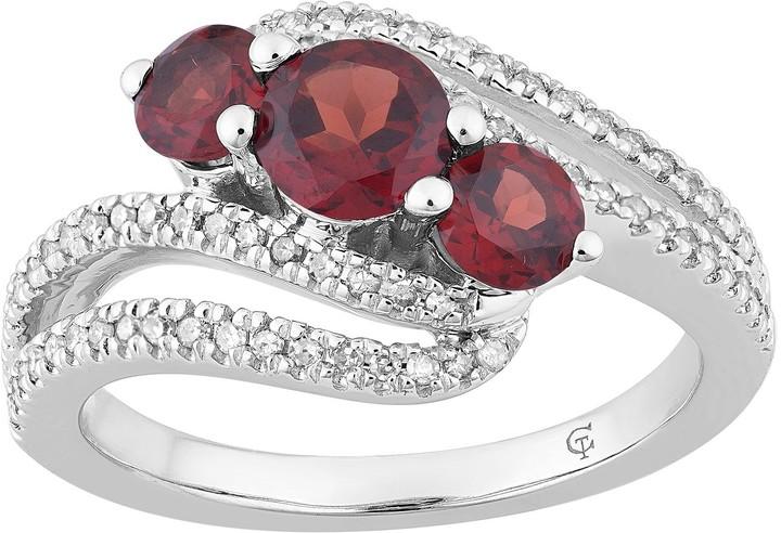 10k White Gold Garnet & 1/4 Carat T.W. Diamond 3-Stone Bypass Ring