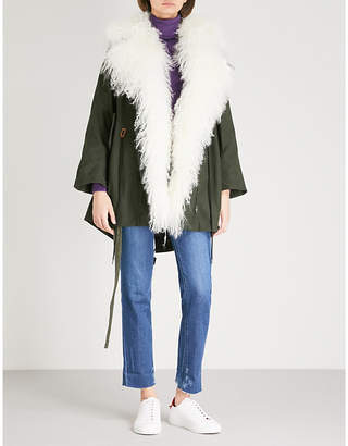 Mo&Co. Padded woven and down-blend shearling coat