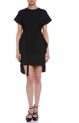 N°21 (ヌメロ ヴェントゥーノ) - N 21 プリーツフリルトリム ベルテッド 半袖ドレス ブラック 38