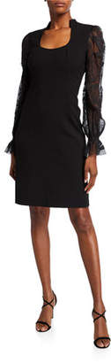 Elie Tahari Diva Scoop-Neck Embroidered Blouson-Sleeve Dress