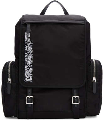 Calvin Klein Black Nylon Flap Backpack