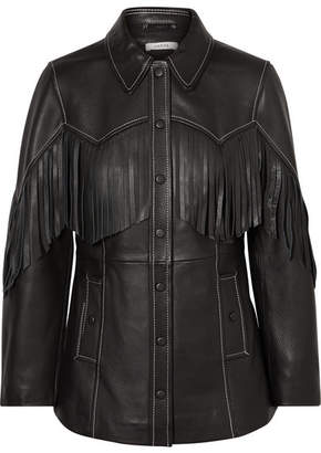 Ganni Angela Fringed Textured-leather Jacket - Black