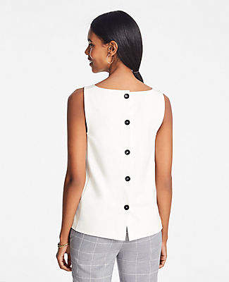 Ann Taylor Petite Ponte Button Back Shell