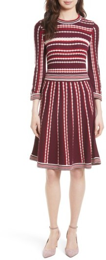 Women's Kate Spade New York Scallop Stripe Knit Fit & Flare Dress