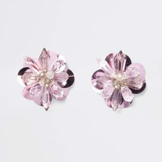 River Island Pink bead and sequin 3D flower stud earrings