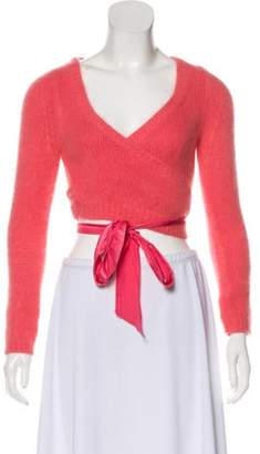 Blumarine Angora-Blend Knit Cardigan Pink Angora-Blend Knit Cardigan