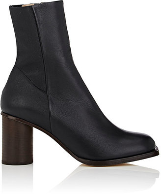 Helmut Lang Women's Cylindrical-Heel Leather Ankle Boots $695 thestylecure.com
