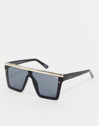 Quay Hindsight flatbrow sunglasses in black & gold