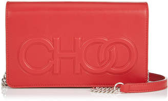 Jimmy Choo SONIA Red Nappa Leather Day Bag with Chain Strap