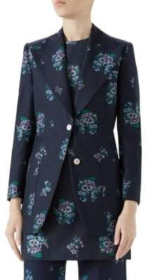 Gucci Long-Sleeve Floral Fil Coupe Jacket