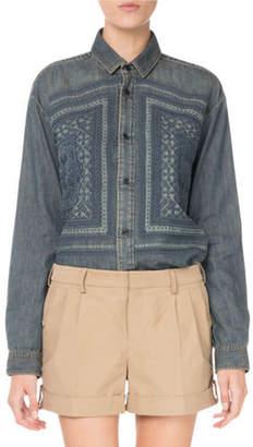Saint Laurent Button-Front Embroidered Cotton Denim Shirt