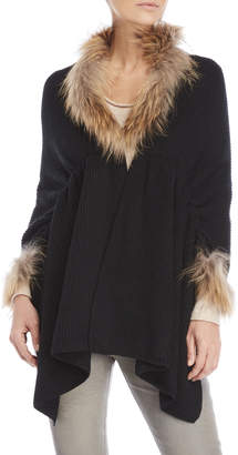 Dolce Cabo Real Fur Trim Knit Poncho