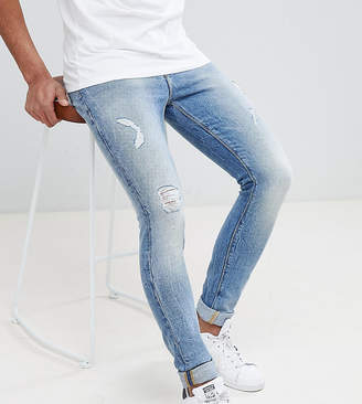 Asos DESIGN Tall Super Skinny Jeans In Mid Wash Vintage Blue With Abrasions