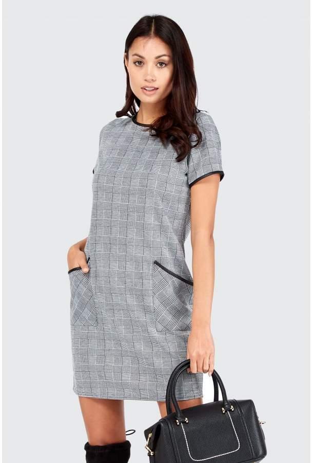 Select Fsahion Check Jacquard Pu Shift Dress