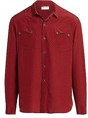 Saint Laurent Men's Western Print Silk Button-Down Shirt