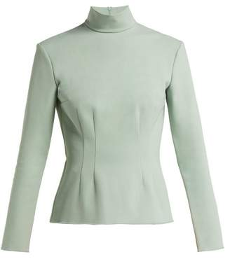 Vika Gazinskaya High Neck Stretch Jersey Top - Womens - Light Green