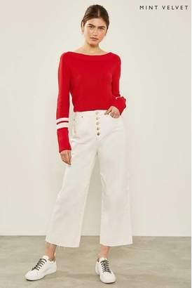 Next Womens Mint Velvet White Madison Button Jean