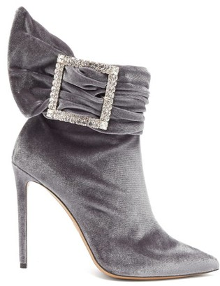 Alexandre Vauthier Yasmine Crystal Embellished Velvet Ankle Boots - Womens - Grey
