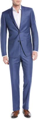Michael Kors Slim-Fit Sharkskin Two-Piece Suit, Blue