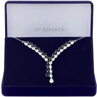 Jon Richard Silver Plated Blue Cubic Zirconia Eleanor Pear Lariat Necklace