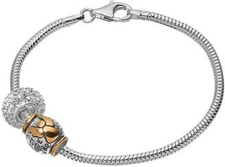 "Individuality Beads Crystal Sterling Silver & 14k Gold Over Silver Snake Chain Bracelet & ""Guardian Angel"" Bead Set"