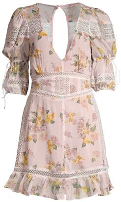 For Love & Lemons Isadora Lace-Trim Floral Dress