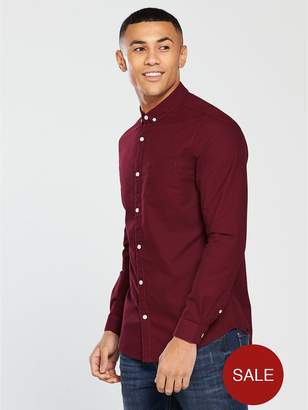 Very Mens Long Sleeved Button Down Oxford Shirt - Burgundy