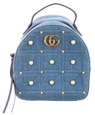 Gucci 2018 GG Marmont Denim Backpack
