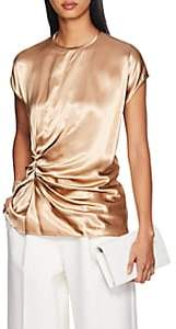 Helmut Lang Women's Ruched Satin Short-Sleeve Top - Gold