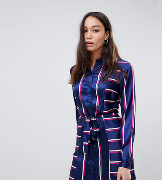 Influence Tall belted midi shirt dress in stripe print