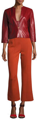 Narciso Rodriguez Plonge Leather Split-Neck Top, Red