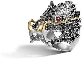 John Hardy Pave Naga Dragon Head Ring