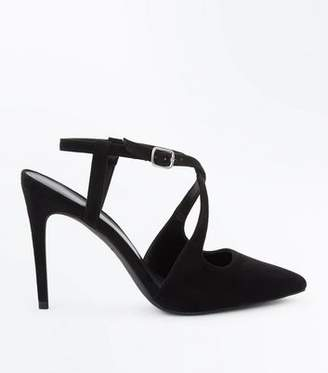 b6cb0bf0a7b New Look Black Suedette Cross Strap Pointed Heels