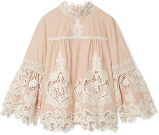 Anna Sui - Cupid And Fairy Crocheted Lace-trimmed Cotton-gauze Blouse - Beige