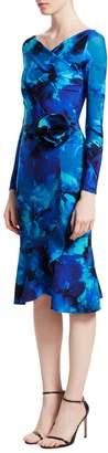 Chiara Boni Long-Sleeve Printed Ruffle Bottom Dress