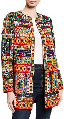 Alice + Olivia Rory Embroidered Long Collarless Jacket