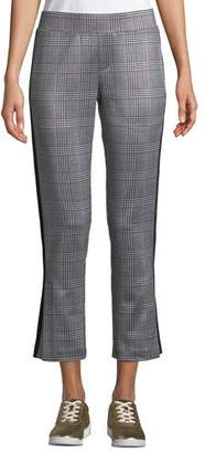 Pam & Gela Glen Plaid Cropped Side-Stripe Track Pants