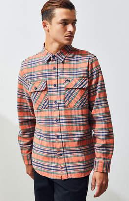 Brixton Orange Bowery Plaid Flannel Shirt