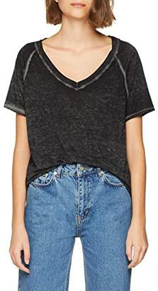 Mavi Jeans Women's's V Neck TOP T-Shirt, (Black 15903), S