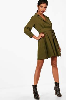 boohoo Wrap Front Tie Waist Skater Shirt Dress