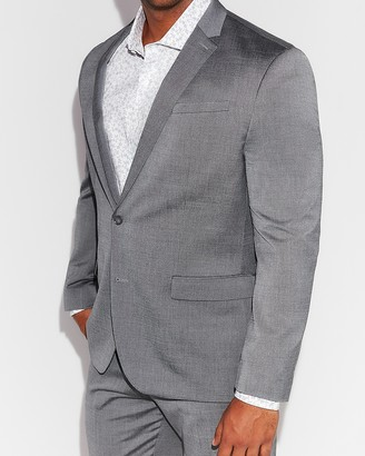 Express Classic Gray Wool Blend Oxford Suit Jacket