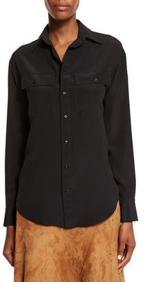 Ralph Lauren Collection Long-Sleeve Button-Front Shirt, Black $850 thestylecure.com